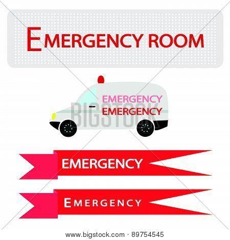 Ambulance With Emergency Banner On White Background