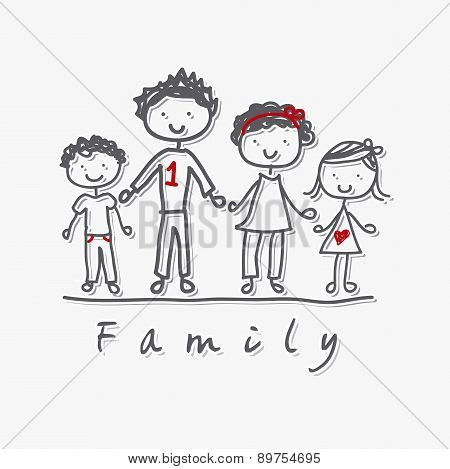 Family Isolated Over Gray Background Vector Illustration