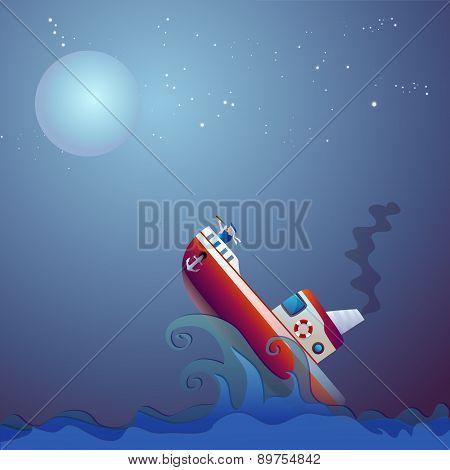 Steamship the storm ocean