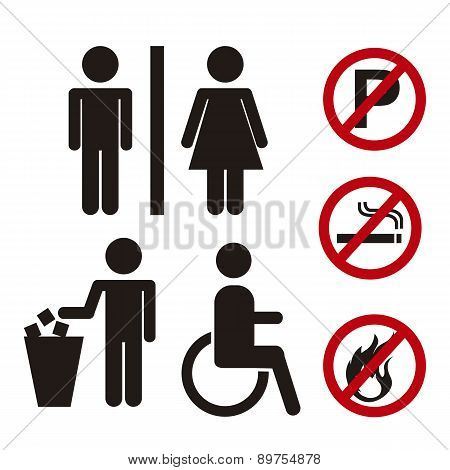 Men And Women Signs With Prohibited Signs Vector Illustration