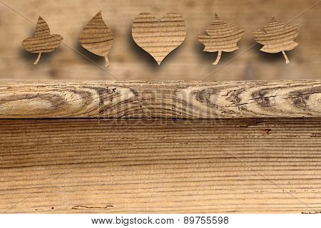 old antique wooden tables with leaves shape