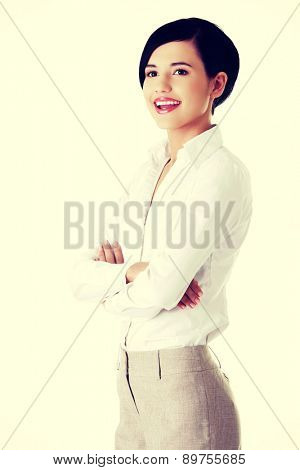 Attractive young and beautiful businesswoman