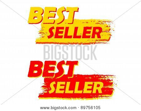 Best Seller, Yellow And Red Drawn Labels