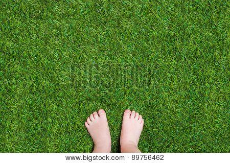 Baby legs standing  on green summer grass