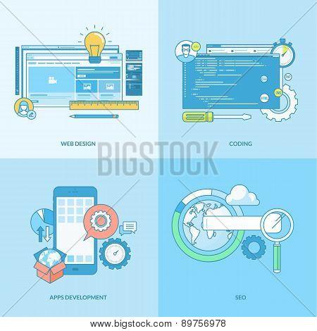Set of line concept icons for web development