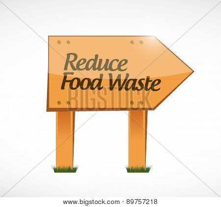 Reduce Food Waste Wood Sign Concept