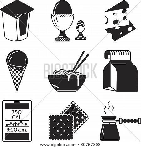 Black vector icons for lunch menu