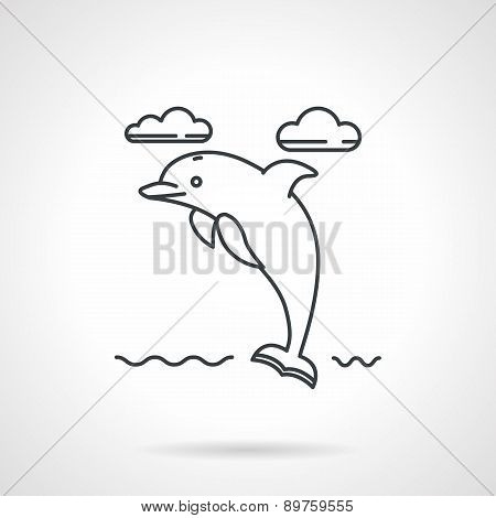 Dolphin black line vector icon