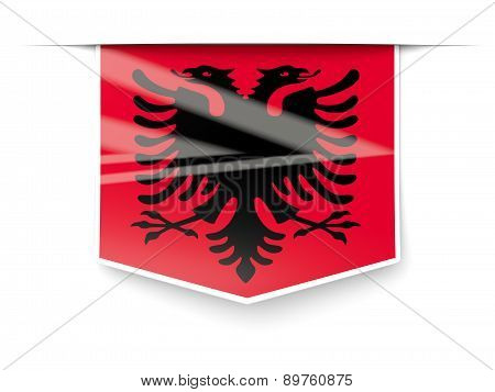 Square Label With Flag Of Albania