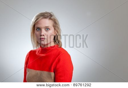 Young Pretty Blonde Orange Sweater Silly Face