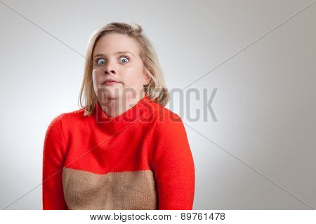 Young Pretty Blonde Making Weird Face