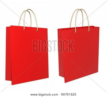Red 3d shopping bags. Isolated on white background