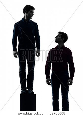 two  young men dominant concept shadow white background