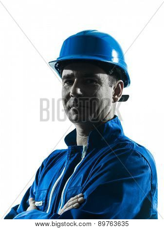 one  man construction worker silhouette portrait in studio on white background