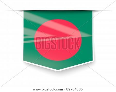 Square Label With Flag Of Bangladesh