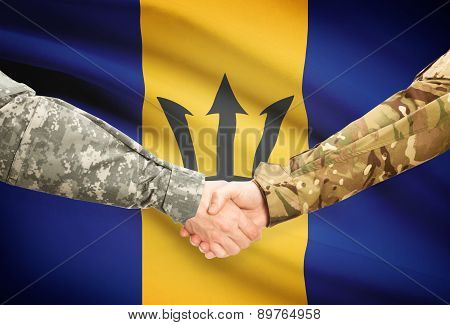 Men In Uniform Shaking Hands With Flag On Background - Barbados