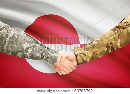 Men In Uniform Shaking Hands With Flag On Background - Greenland