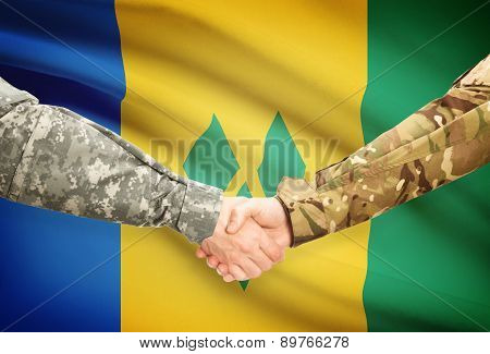 Men In Uniform Shaking Hands With Flag On Background - Saint Vincent And The Grenadines