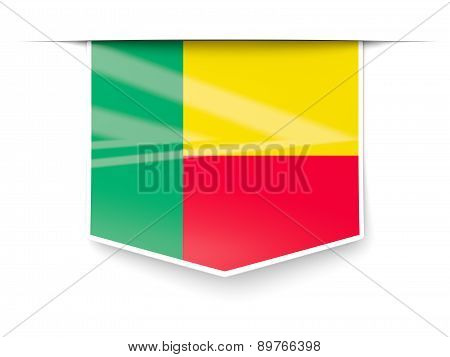 Square Label With Flag Of Benin