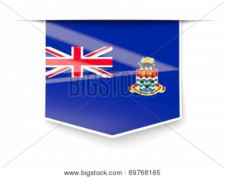 Square Label With Flag Of Cayman Islands