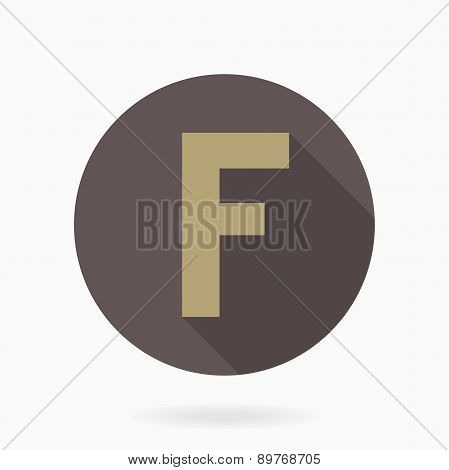 Letter F  With Flat Design