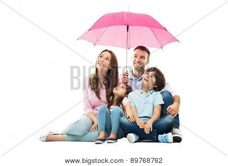 Family with the umbrella