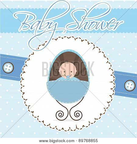 Baby Shower Card Boy Baby Vector Illustration