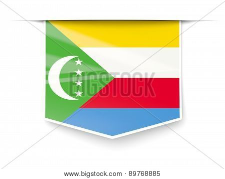 Square Label With Flag Of Comoros