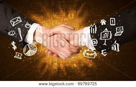 Handshake with glowing background
