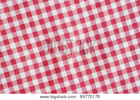 Red Linen Crumpled Picnic Blanket.