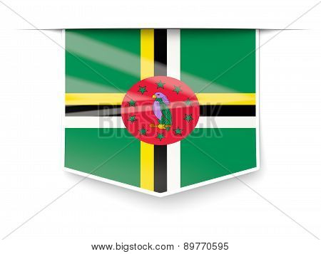 Square Label With Flag Of Dominica