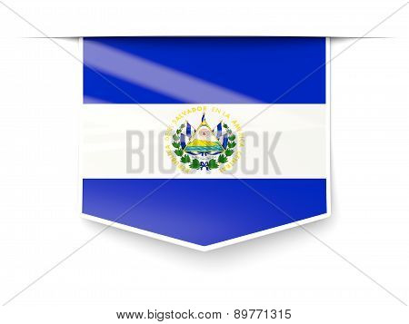 Square Label With Flag Of El Salvador