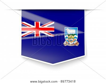 Square Label With Flag Of Falkland Islands