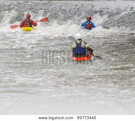 Action sport with copy space - kayaking