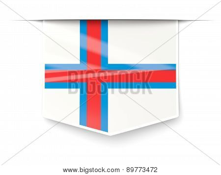 Square Label With Flag Of Faroe Islands