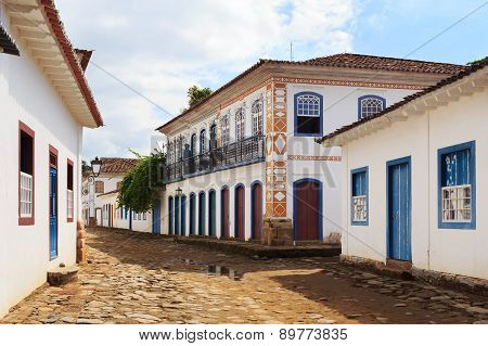 Street, Colonial Houses In Paraty, Brazil