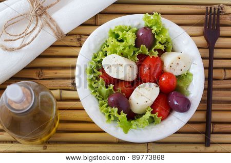 Salad Of Heart Of Palm (palmito), Cherry Tomatos, Olives, Pepper