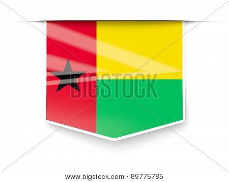 Square Label With Flag Of Guinea Bissau