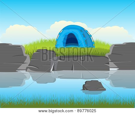 Tent On River