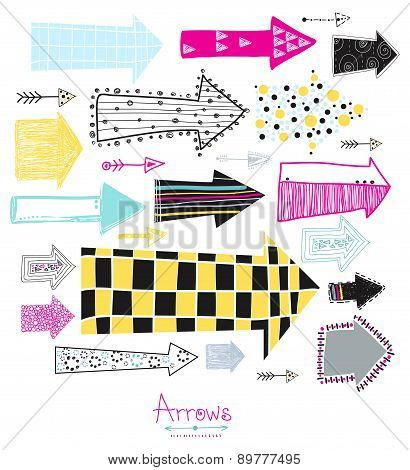 Arrows.Creative graphic background.Sketch arrow collection for your design.
