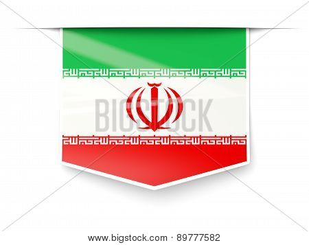 Square Label With Flag Of Iran