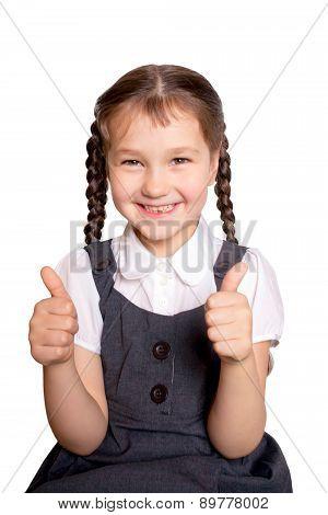 Girl In School Uniforms Showing Thumbs Up