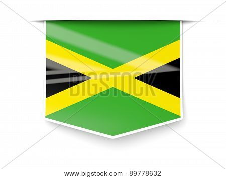 Square Label With Flag Of Jamaica