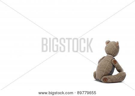 Sadly Bear Patchwork Isolated On White Background