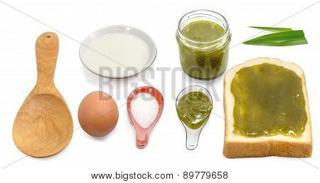 Thai Custard Bread Ingredients Isolated Top View