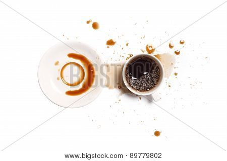 Coffee Spill Stain Accident White Background
