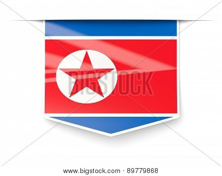 Square Label With Flag Of North Korea