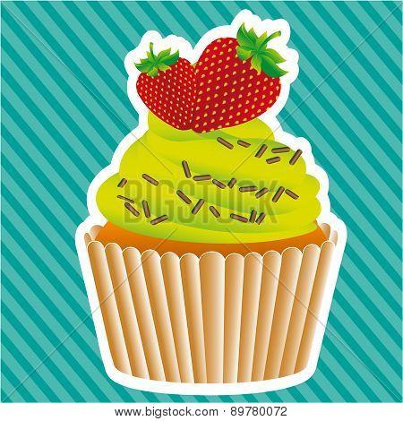 Cupcake Sticker On Bottom Lines Vector Illustratition