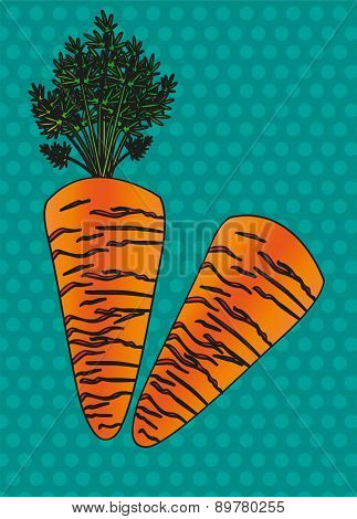 Two Cartoon Carrot Isolated On Blue Dots