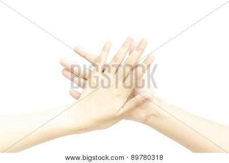 Palm Hand Five Finger Touch Metaphor With Greeting